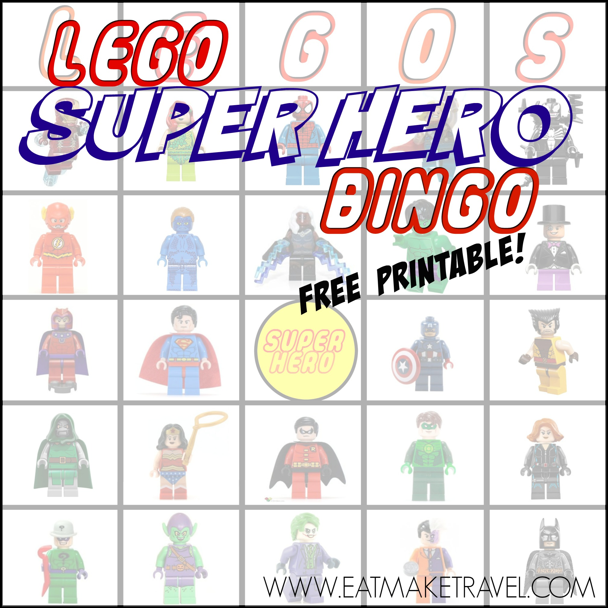 Super Hero Lego Bingo (FREE PRINTABLE)