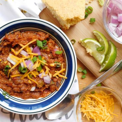 Pressure Cooker Vegan Chili Made with Lentils and Beans